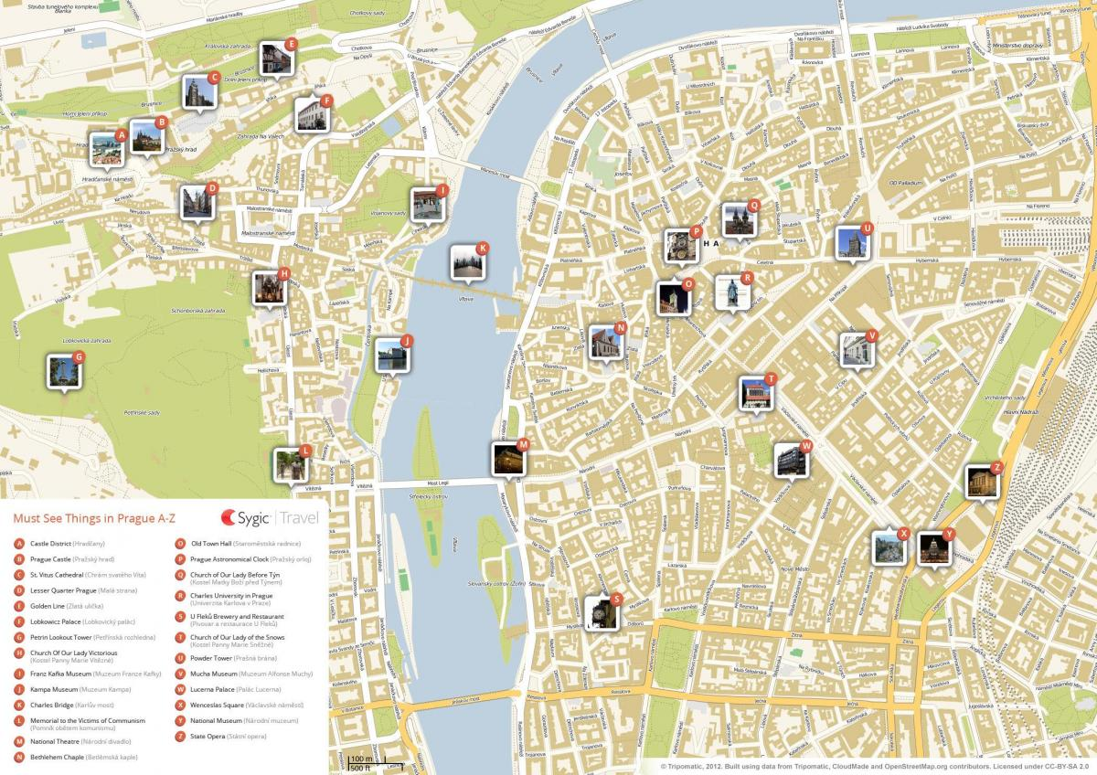 Prague sightseeing map